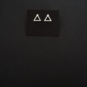 Minimalist stainless steel triangle silver plated earrings - GG UNIQUE