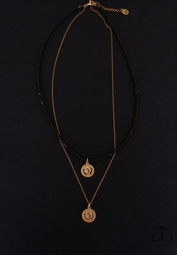 Deep khaki necklace with gold tones - GG UNIQUE