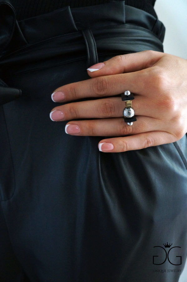 Modern black gold and silver ring - GG UNIQUE